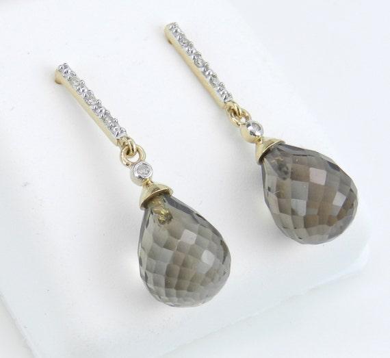 SALE Briolette Smokey Topaz and Diamond Dangle Earrings 14K Yellow Gold Wedding Gift