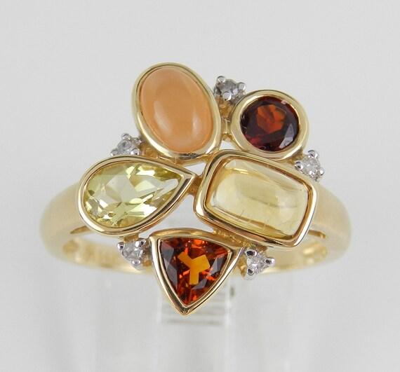 Garnet Citrine Moonstone Diamond Cluster Gemstone Ring 14K Yellow Gold Size 6.75