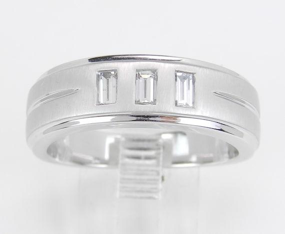Men's Diamond Wedding Ring 3 Stone Anniversary Band 14K White Gold Size 10 F VS