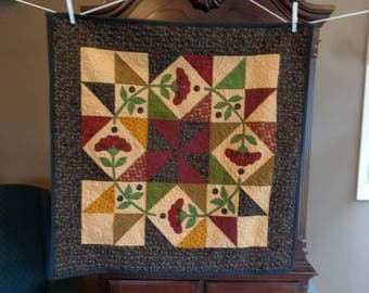 Posies Wall Quilt, Country Quilt, scrappy wall art quilt  0521-01