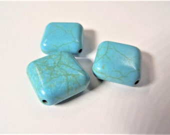 16mm Square Synthetic Turquoise beads, 10CT, S56A