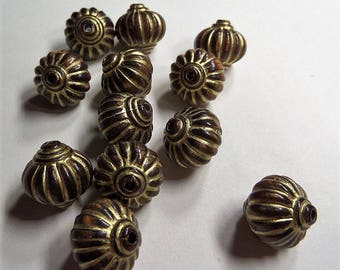 25CT. Lantern Plating Acrylic Beads, Golden Metal Enlaced, Coconut Brown, 14mm, Hole: 2mm, S66