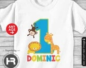 Zoo Birthday Shirt or Bodysuit - ANY AGE - Fun to be One 1st Birthday Shirt - BOYS Personalized Jungle Birthday Shirt - Giraffe Monkey Lion