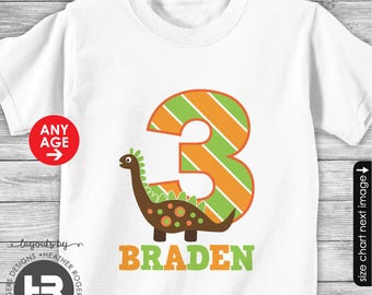 Dinosaur Birthday Shirt or Bodysuit - Made FOR ANY AGE - Personalized Dinosaur Birthday Shirt with child's age and name