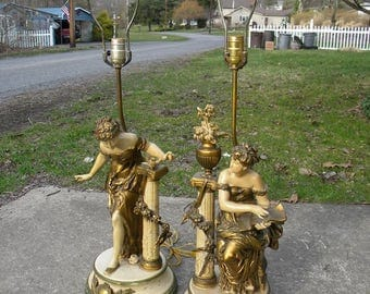 2 large vintage 1960s elegant ornate figural WOMAN metal lamps signed FRANCAISE COLLECTION