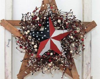 Fourth of July Wreath - Americana Star - Rustic Memorial Day Wreath - Patriotic Front Door Wreath - Rustic Americana Star Wreath  Texas Star