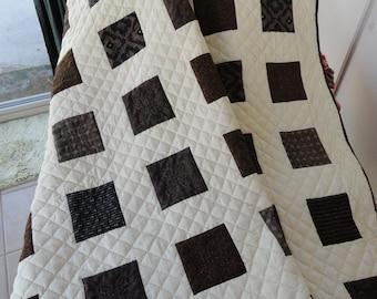 Hand Quilted Browns and Beige Endless Summer 61x87 Quilt