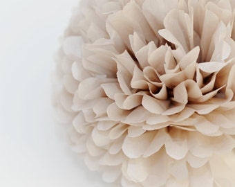 1 pom in Pearlesence Champagne - shimmery - sparkling tissue paper pom poms  - wedding party decorations - pastel party decor