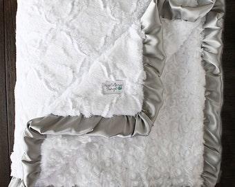 Custom Minky Blanket, White and Grey, Lattice blanket, Rose Minky, Unisex, Baby boy, Baby girl, Nursery bedding, Crib Blanket, baby gift