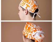 Surgical Hat, Scrub cap, Ponytail Scrub cap, Surgical cap, Ponytailed Scrub cap, Ponytailed scrub hat~ Volunteer State