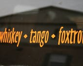"Customized Black Vinyl 30"" x 3"" Whiskey Tango Foxtrot WTF Bumper Sticker / Window Decal"