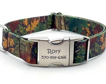 FOREST CAMO Polyester Webbing Dog Collar with Laser Engraved Personalized Buckle