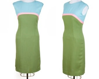 1960's Dress // Color Block Wiggle Dress Blue Pink and Olive Green Mid Century Alice of California