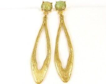 Long Gold Post Earrings, Green Earrings, Long Oval Earrings, Long Green Gold Earrings, Long Textured Earrings, Green Dangle Earrings |EC3-28