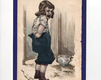 4 x 6 Victorian Era Child Potty Toilet Training  Chamber Pot Flat Notecard Postcard All Purpose Greeting .