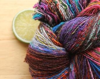 Gemstone - Handspun Hand Dyed Wool Yarn Sparkle Grey Pink Orange Purple