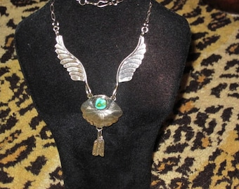 Vintage Native American Sterling Silver Navajo Turquoise  Feather Necklace 19.7g