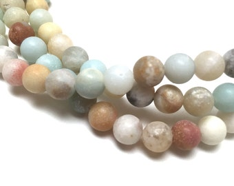 Amazonite Round Beads. Matte Finish. Teal. Opaque. Gemstone Beads. Center Drilled. Jewelry Supplies. 6mm. One Full Strand (1).