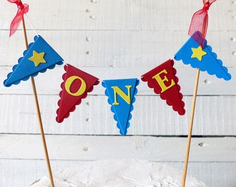 Red, Blue & Yellow First Birthday Smash Cake Topper - Circus Party, Carnival Party - Cake Bunting