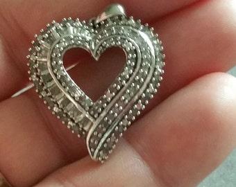 Vintage Sterling silver & Diamond Heart Pendant  over 1carat