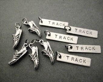 5 Pack Set - 5 Sets of RUNNING SHOE TRACK Pendant Set - 1 Pewter Running Shoe Charm Plus 1 Track Pendant in Each Set - Set in Organza Bag