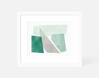 Mid Century Modern Art Large / Minimalist Geometric Art Print / Green Wall Art Horizontal / Matted and Framed / 24x18 20x16 14x11 10x8 7x5