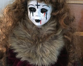 creepy goth doll, OOAK art doll, Halloween haunted house prop