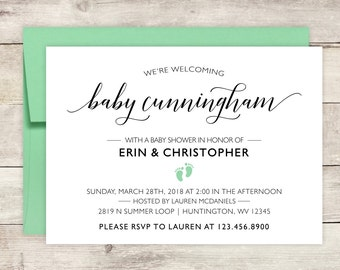 Baby Shower Invitations - Vintage Baby Shower Invitations - Printed Baby Shower Invites - Personalized Baby Shower Invitations - Script