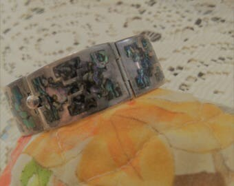 Sterling and Abalone snap Clasp Bracelet