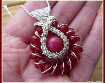 Ruby Pendant in Sterling Silver with woven bail, July birthstone