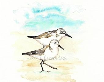 Sand Piper Serenade, Beach Watercolor Print, Beach art, bird art, wall art