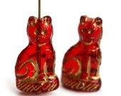 Red Cat beads, Golden Wash, Sitting Cat Beads, red and gold czech glass cat figurine beads, feline, 2pc - 0727