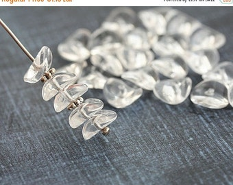 ON SALE Clear glass beads, Wavy spacers, rondelle, Crystal Clear czech pressed beads - 4x9mm - 25Pc - 2855