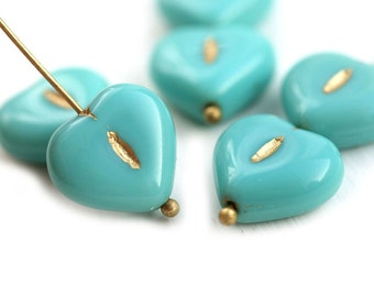 6pc Turquoise Green Heart beads, Czech glass pressed beads, Golden wash, puffy hearts - 14mm - 0525