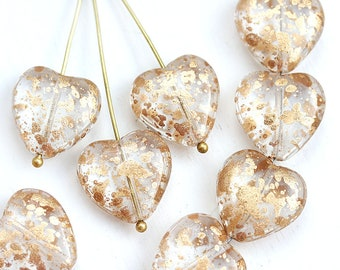 15mm Golden Heart beads, Crystal Clear and Gold flakes czech glass pressed beads, 8Pc - 0221