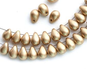 5x7mm Golden drops, Matte Gold czech Glass teardrop pressed beads - 30pc - 1735