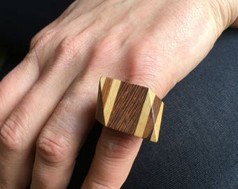 Vintage 70s Ring Wood Ring Large Ring Statement Ring Geometric Ring French Design Jewelry 5.40 US 50.5 French