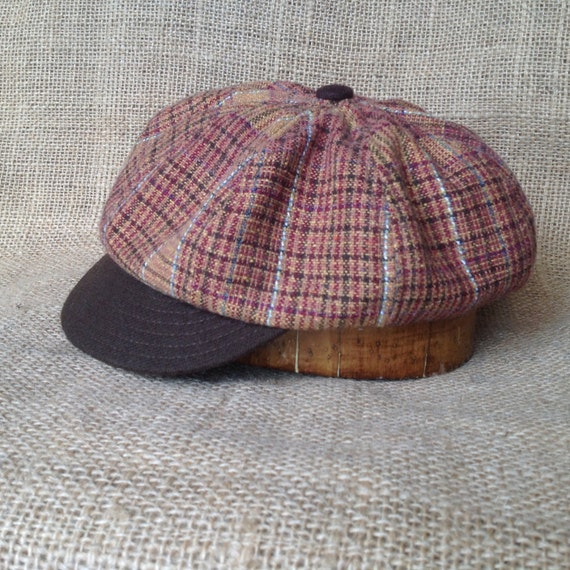 Hand crafted, plaid wool blend 8 panel baggy cap, long or short visor, adjustable or fitted with cotton or leather sweatband.