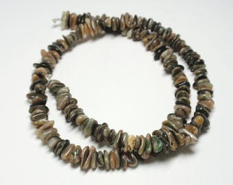 Abalone Brown Shell Chips, 5mm to 8mm Natural Brown Abalone Shell Beads - 170 Chips (Approximate)