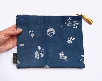 SALE! Limited Edition Hand Screenprinted Linen Dumpling Clutch Purse with Archaeology Print
