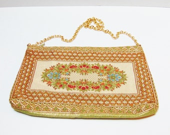Vintage Purse Mister Simon Ernest Golden Tapestry  Handbag Made in Italy Floral