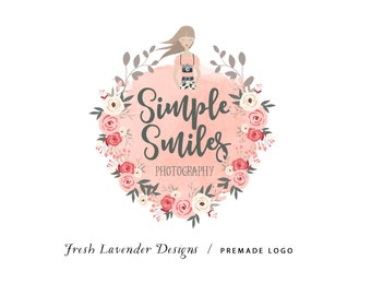 Custom Logo Design Premade Logo and Watermark for Photographers and Small Businesses Watercolor Hand Drawn Photography logo with Camera