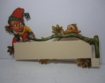 Antique 1910's-20's die Cut Place Card with little elf boy sitting on a tree limb surprised by a large snail