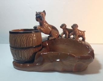 Ceramic Boxer ashtray with cigarette holder box. Mama dog and puppies