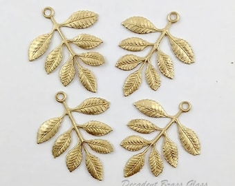 Raw Bras Leaves, Brass Leaves, Leaf Stamping, Brass Drop, Earring Dangle, 38mm x 30mm - 4 pcs. (r328)