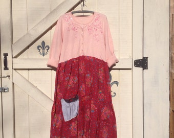 XL Bohemian dress pink red Boho chic dress, tiered dress, gypsy cowgirl, rustic hippie red