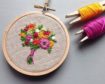 Farmers Market Bouquet No. 5 - Hand Embroidered Flowers, Embroidery Hoop Art, Botanical Pick Me Up, Birthday Gift for Wife, Girlfriend, Mom
