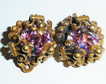 Antique Amethyst earrings in bronze early 1900's