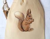 Squirrel Bag - Drawstring Bag - Fairtrade Cotton - Ethical and Reusable - Toiletries Bag