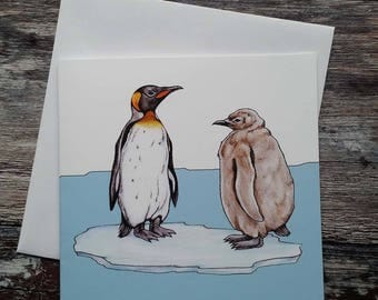 Penguin Card - King Penguins - Greeting Card - Mother's Day Card - Love You Card